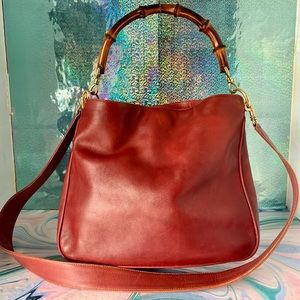 Gucci Vintage Leather Bamboo 2 Way Crossbody Bag